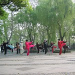 Early morning taiji practice in the park, Hangzhou